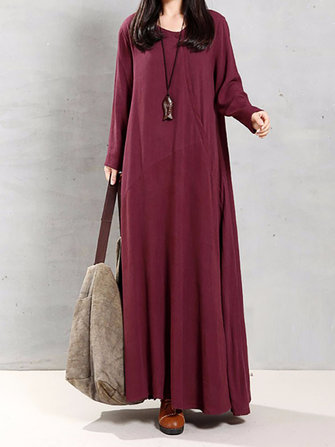 Casual Women Pure Color Long Sleeve Irregular Hem Loose Maxi Dresses