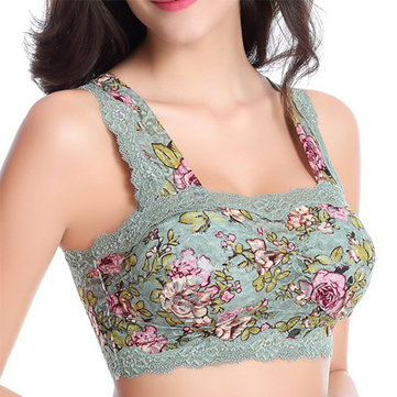 Women Comfy Floral Printing Lace Bra Wireless Wrapped Chest Vest Bras