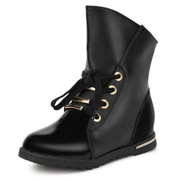 Women Fashion Boots PU Leather Motorcycle Bota Ankle Short Boots Rain Boots