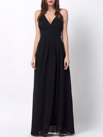 Black Sexy Backless Split Hem V-neck Maxi Dresses