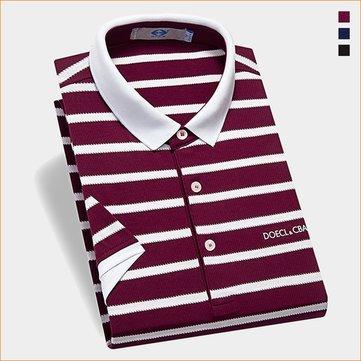 Maniche corte Tempo libero Cotton POLO T-shirt Moda Uomo classico a strisce turn-down Slim Fit SUPERA IL T