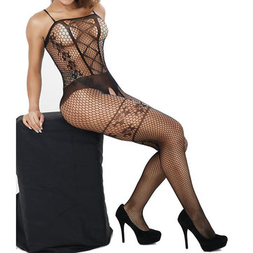 Sexy Hollow Out Plaid Mesh Crotchless Nightwear Sleeveless Tight Jacquard Bodystocking