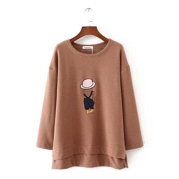 여자 두꺼운 벨벳 만화 셔츠