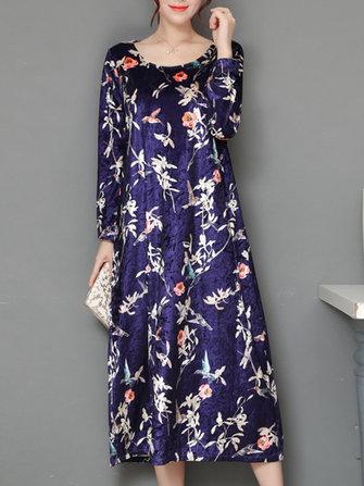 Elegant Women Thick Velvet Floral Dress