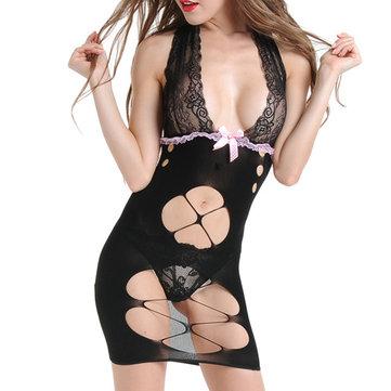 Femmes Sexy Deep Plunge Halter évider Backless chemise de nuit