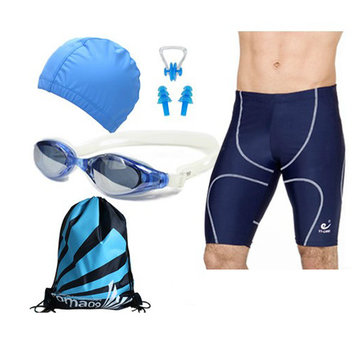 Blue Swimming suit Swimming Goggles and