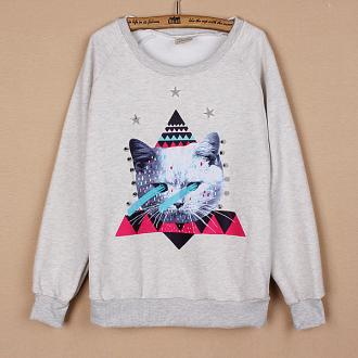 Light Grey Ladies' Spring Casual Long Sleeve Round Collar Cat Pattern Hoodie