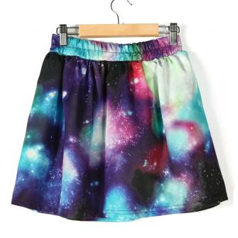 Fashion Women's Green and White Galaxy Dip Dye Elastic Skirt