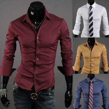 10 Colors Long Sleeve Fashion Mens Solid Color Slim Casual Dress ...