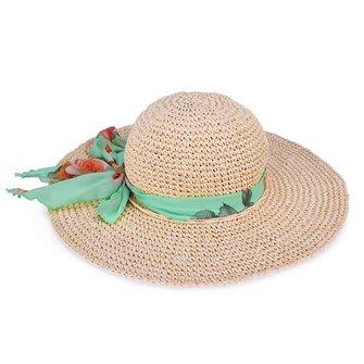 파인 크로 셰 뜨개질 커브 빅 브림 Raffia Straw Beach Hat Summer Women