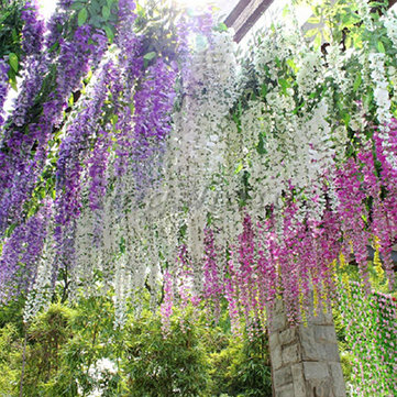 silk wisteria flowers vine home garden decor artificial plant garland - Flowers For Home Garden