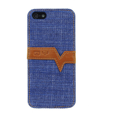 Kaarthouder Cowboy Grain Hard Back Cover Case Voor iPhone5 5S