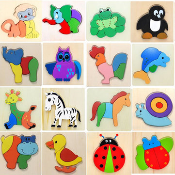 3D Assembled Animal Wooden Puzzle Preschool Educational Toy