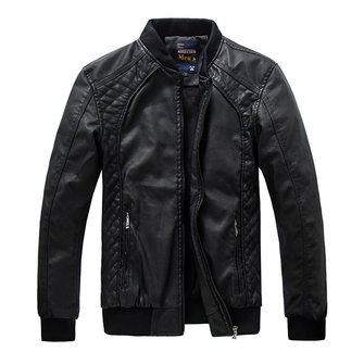 Washing PU Leather Jacket Mens Lining Stand Collar Motorcycle Zipper Quality Coat