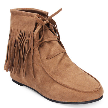 Mulheres clássico borlas suaves lace-up ankle boots plana