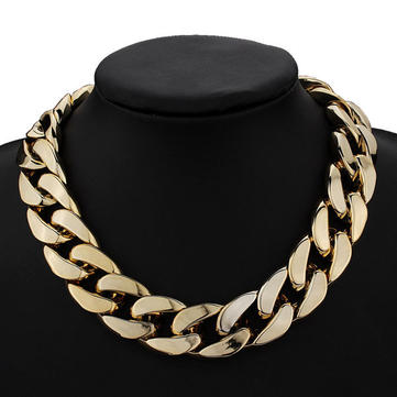 Thick Gold Chain Collar Statement Necklace Bracelet