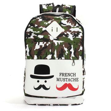 Women Camo Canvas Mustache Backpack Outdoor Travel Rucksack Students School Bags