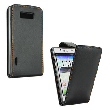 Black Flip Leather Pouch Case Cover For LG P705 Optimus L7