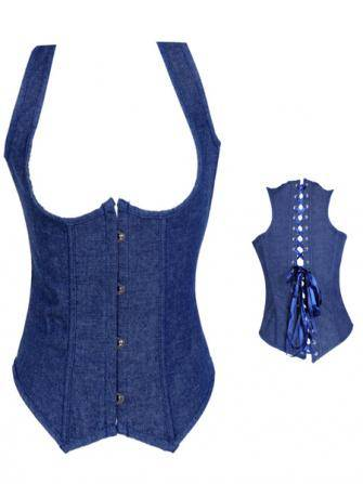 Women Sexy Waist Control Corset Blue Jean Strap Back Lace-Up Bustier With G-string